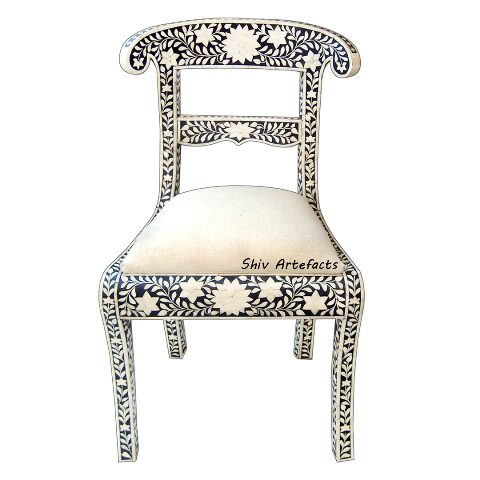 BONE INLAY FLORAL DESIGN CHAIR