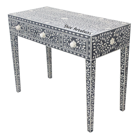 BONE INLAY FLORAL DESIGN CONSOLE