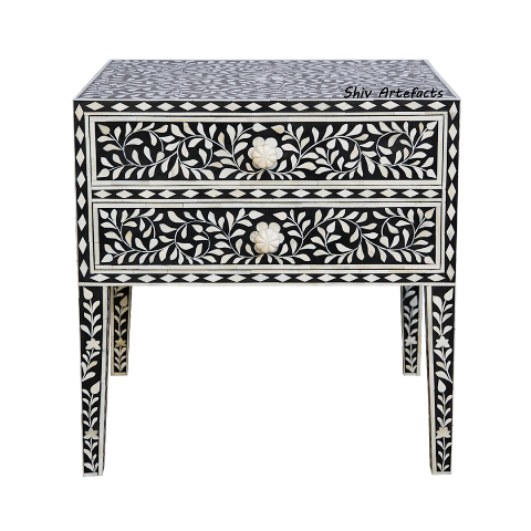 BONE INLAY FLORAL DESIGN BEDSIDE