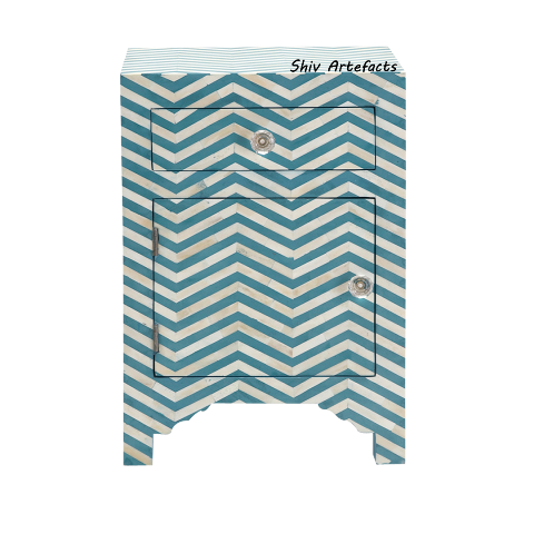 BONE INLAY CHEVRON DESIGN BEDSIDE