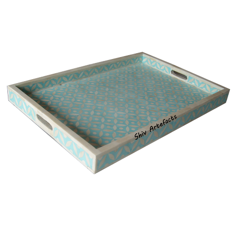 BONE INLAY GEOMETRICAL TRAY