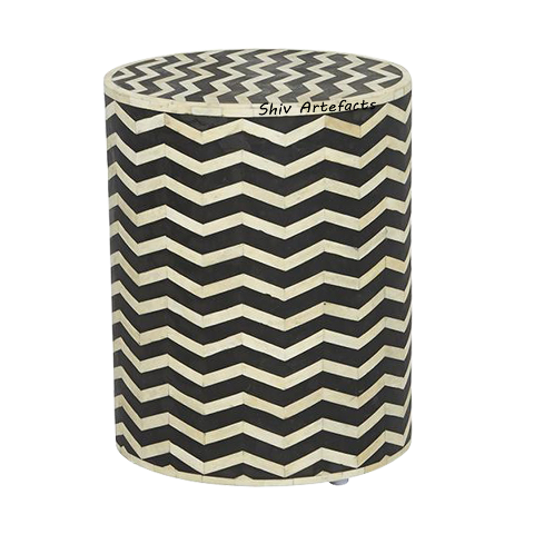BONE INLAY CHEVRON DESIGN ROUND SIDE TABLE