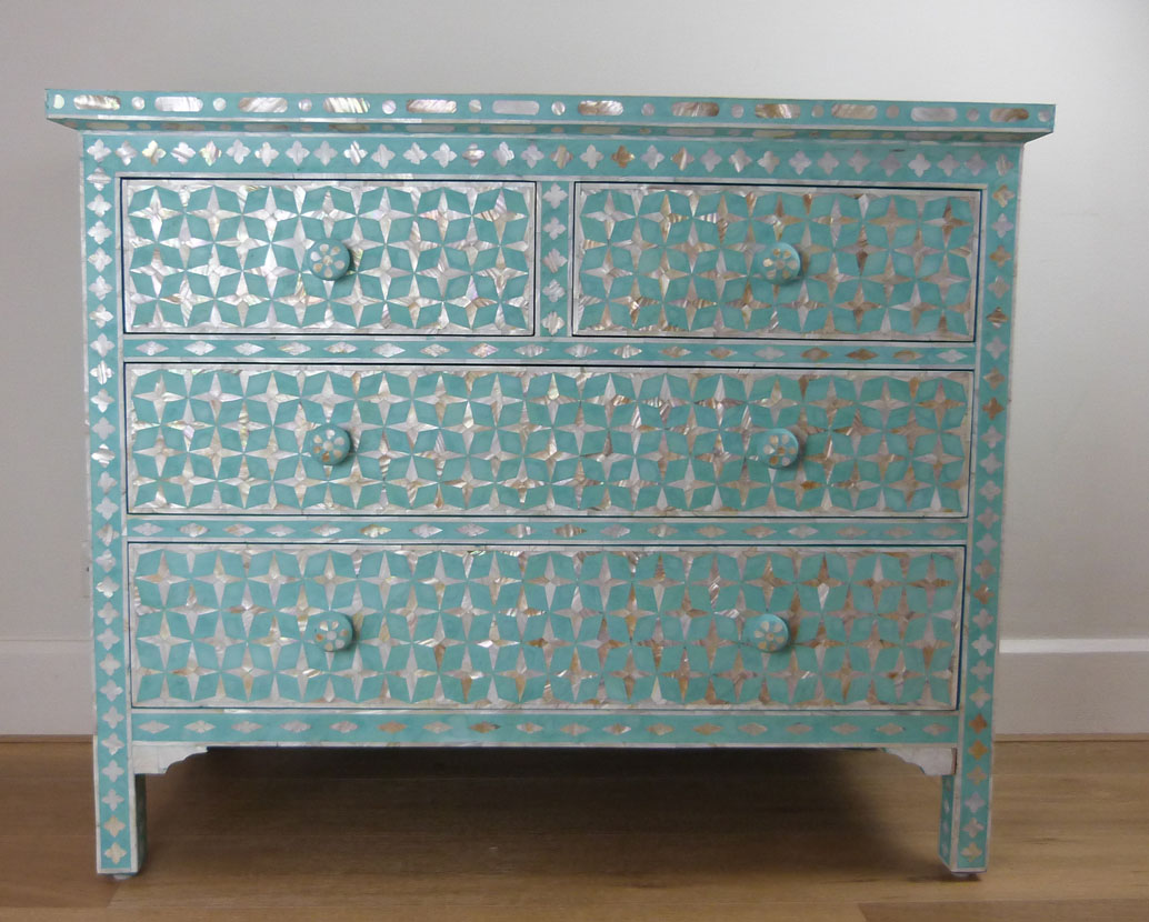 Mother of Pearl Inlay Teal Design Chest of Drawers